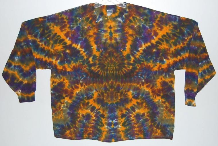 Adult Long Sleeve TIE DYE Earthy Blotter art T Shirt 5X 6X grateful dead DeadCo