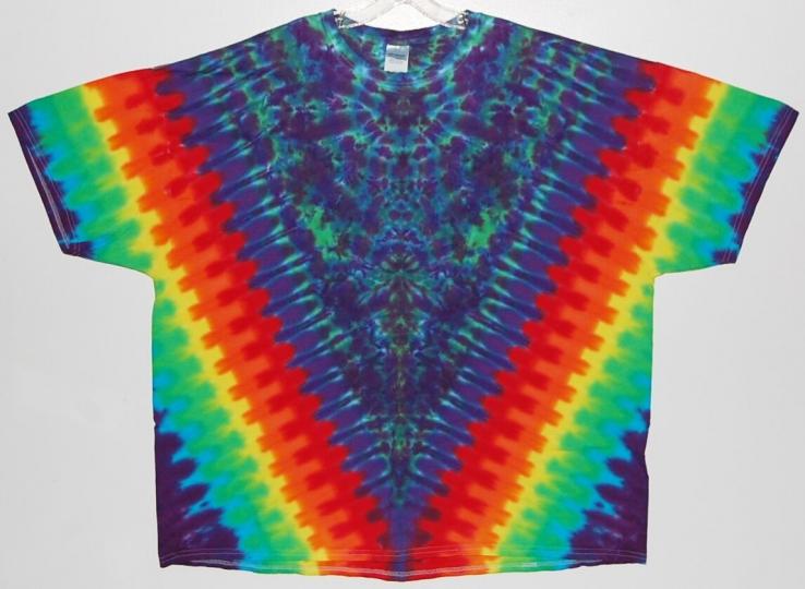Adult S/S TIE DYE Rainbow V Blotter T Shirt 2X 3X 4X grateful dead art tye die