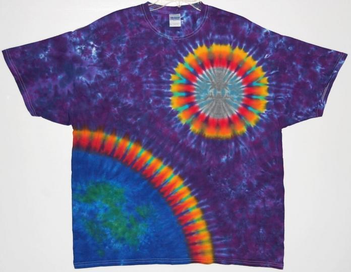 Adult TIE DYE Earth/Moon T Shirt 2X 3X 4X grateful dead art plus sizes tye die