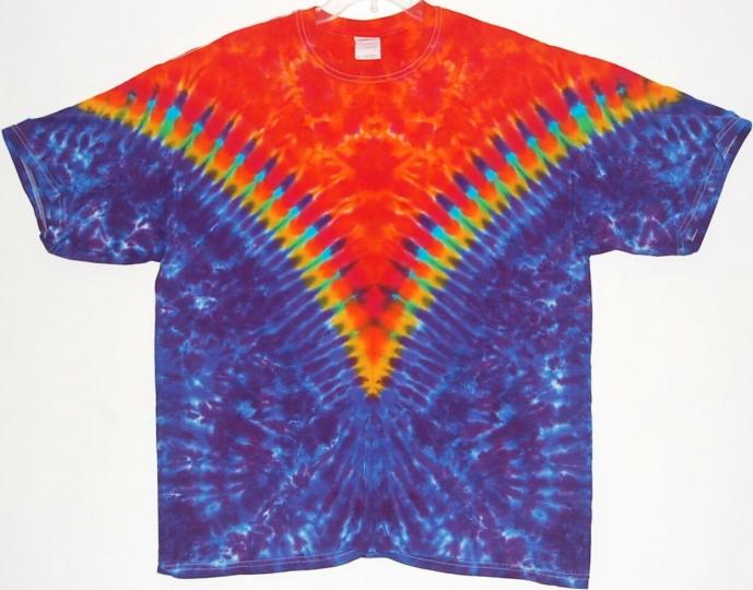 Adult TIE DYE Funky Fire V T Shirt hippie custom art 5X 6X grateful dead 420