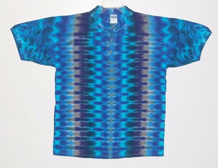Adult TIE DYE Golf Polo Blue DNA sport shirt sm med lg XL hippie grateful dead