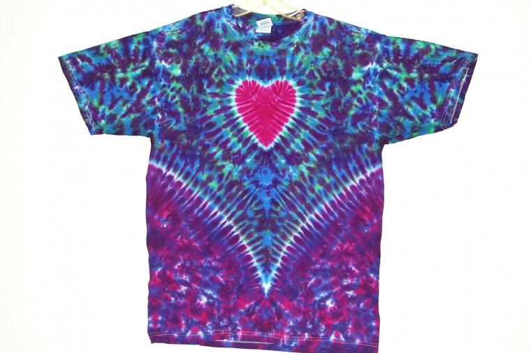Adult TIE DYE Heart V Blotter T Shirt small medium large XL Grateful Dead Love