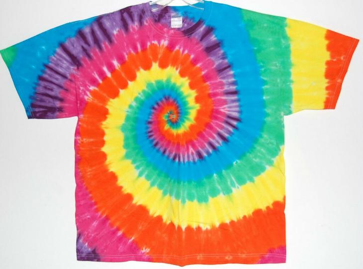 Adult TIE DYE Neon Rainbow T Shirt hippie Sm Med Lg XL grateful dead art tye dye