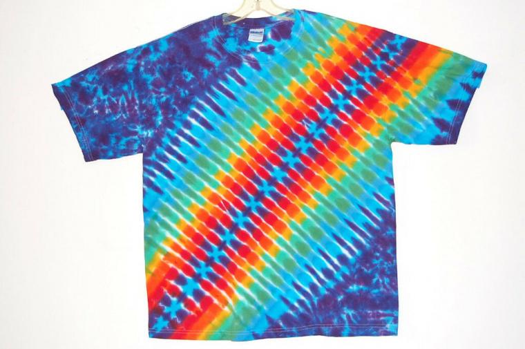 Adult TIE DYE Rainbow DNA / TShirt hippie 2X 3X 4X boho grateful dead art