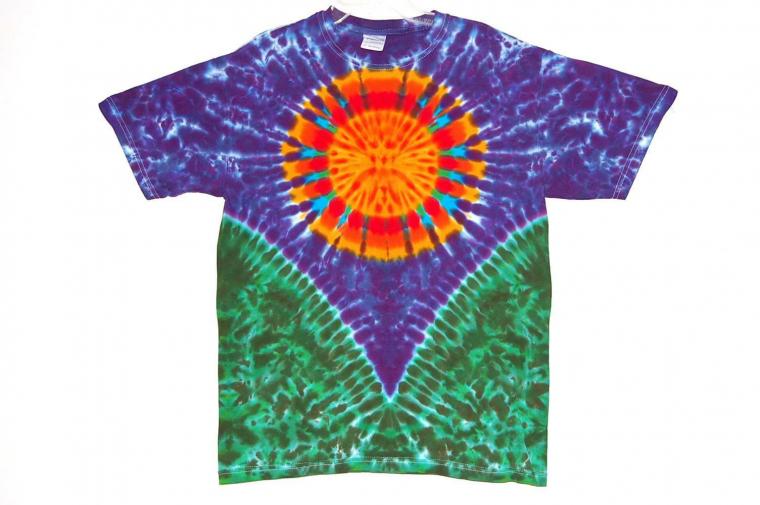 Adult TIE DYE Rainbow Sun V T Shirt small medium large xl hippie grateful dead