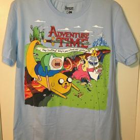 Adventure Time Cartoon Network Light Blue Graphic T-shirt Size Medium