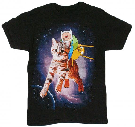Adventure Time - Finn Jake Space Kitty Adult T-Shirt - Cartoon Network American