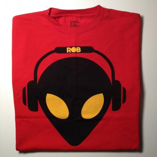 Alien Workshop Skateboards Rob Dyrdek Red T-shirt Alien with Headphones size M