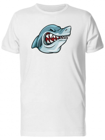 Angry Cartoon Shark Head Men's Tee -Image by Shutterstock