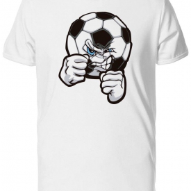 Angry Soccer Ball Mascot Cartoon Men's Tee -Image by Shutterstock