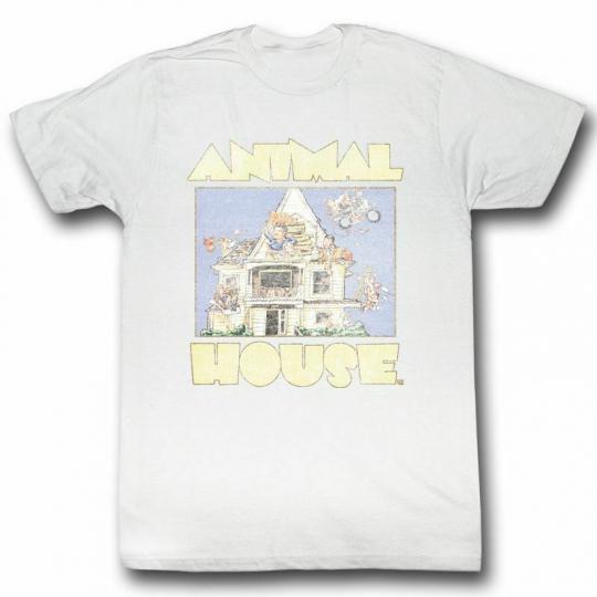 Animal House Cartoon White Adult T-Shirt