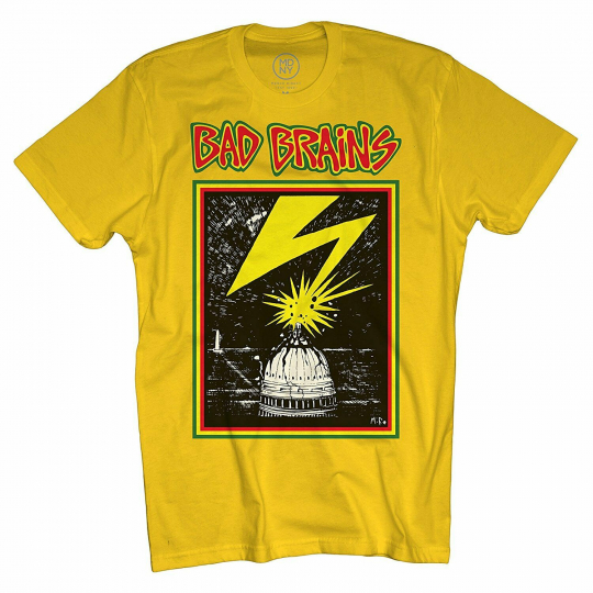 Authentic BAD BRAINS Band Capitol Logo Hardcore Punk T-Shirt Yellow S-2XL NEW