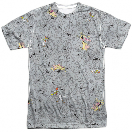 Authentic Cow and Chicken Pattern TV Cartoon Network Sublimation Front T-shirt