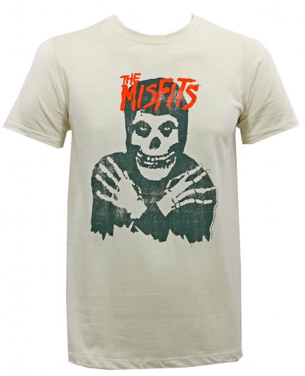 Authentic MISFITS Classic Skull Slim-Fit T-Shirt Vintage White S M L XL 2XL NEW