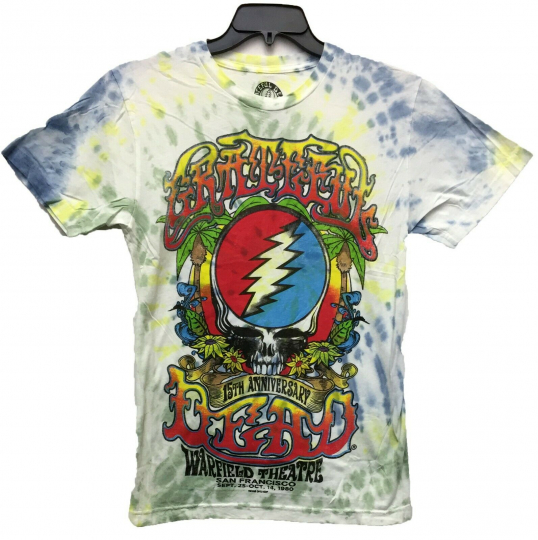 Authentic Men's Grateful Dead Logo 15 Anniversary Licensed Tie Dye T-Shirt New