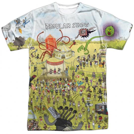 Authentic Regular Show TV  Cartoon Network Group Shot Sublimation Front T-shirt