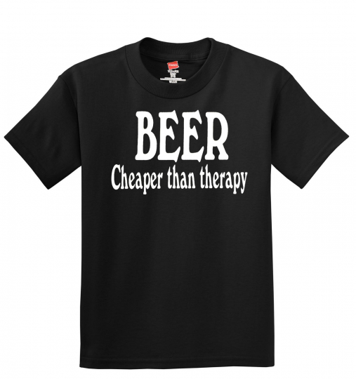 BEER Cheaper Than Therapy Men's T-Shirt -------- Funny - Humor - Laugh - Alcohol