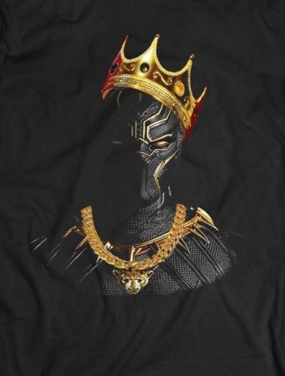 BLACK PANTHER NOTORIOUS BIG KING MASHUP *OLDSKOOL ART QUALITY Shirt *FULL FRONT*