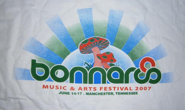 BONNAROO TN MUSIC FESTIVAL ROCK ON T-SHIRT 07' SKY MUSHROOM WHITE S M OR L NEW