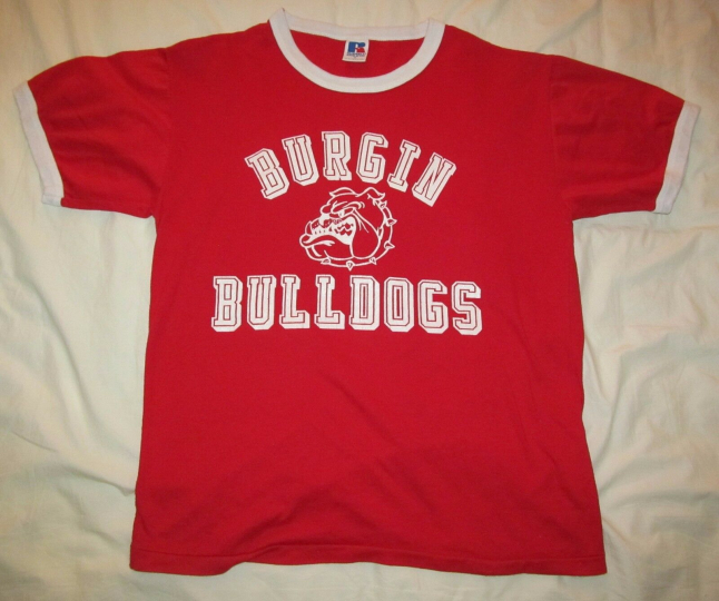 BURGIN BULLDOGS Vintage Red Ringer shirt Russell Athletic size M Medium 19 by 25