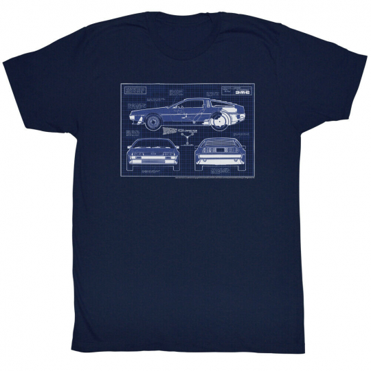 Back To The Future Movie SciFi Adventure Blueprints Adult T-Shirt Tee