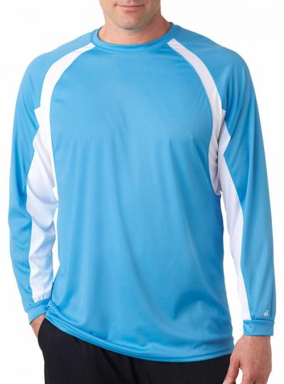 Badger Men's Hook Performance Long Sleeve Contrast Side Panel T-Shirt. 4154