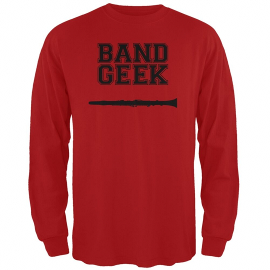 Band Geek Clarinet Red Adult Long Sleeve T-Shirt