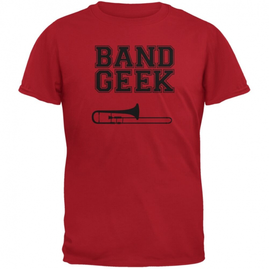 Band Geek Trombone Red Adult T-Shirt