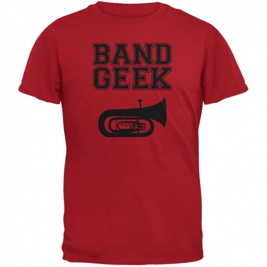 Band Geek Tuba Red Adult T-Shirt