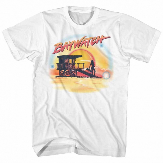 Baywatch 90's Drama Beach Patrol Lifeguard Airbrush Scene Adult T-Shirt Tee