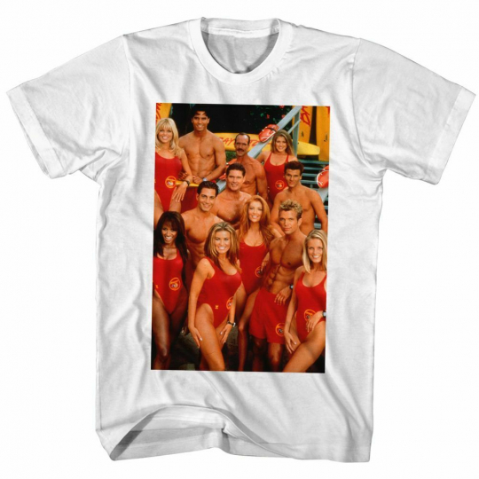 Baywatch Groupie White Adult T-Shirt
