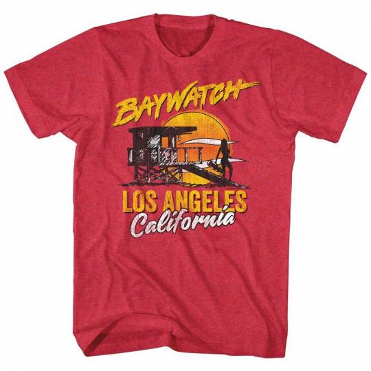 Baywatch Retro Watch Red Adult T-Shirt