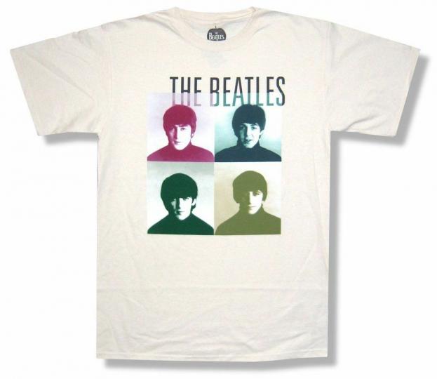Beatles 4 Squares Classic Band Pics Tan Natural T Shirt New Official