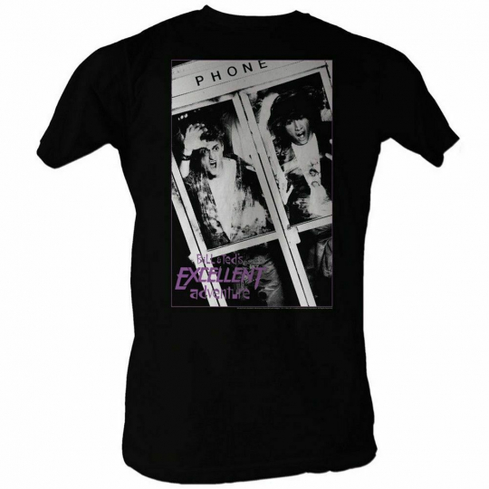 Bill and Ted Black and White Black Adult T-Shirt