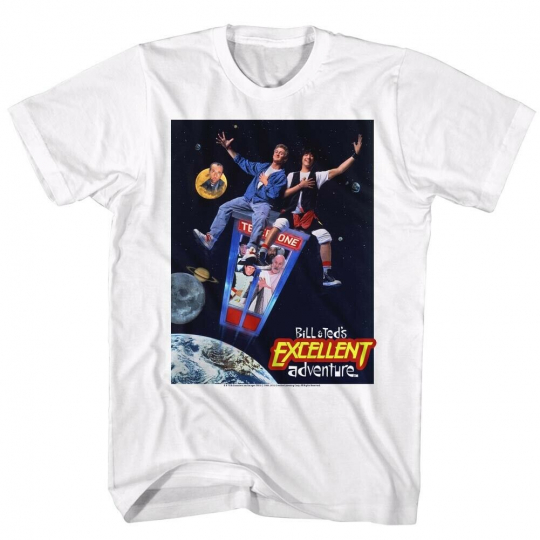 Bill&Ted's Excellent Adventure SciFi Comedy Movie Flying Poster Adult T-Shirt