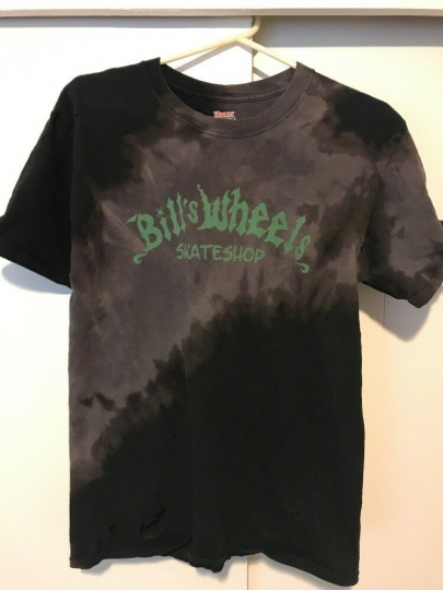 Bills Wheels Skate Shop Santa Cruz Logo Vintage Tie-dye Men's M Tee T-Shirt Blk