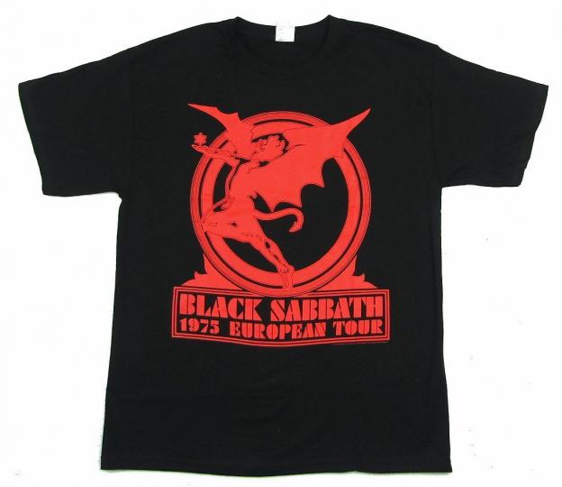 Black Sabbath 1975 European Tour Black T Shirt New Official Band Reissue