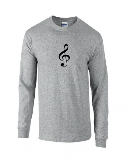 Black Treble Clef T-Shirt Sport Gray Long Sleeve Music Band Tee Shirt S-5XL