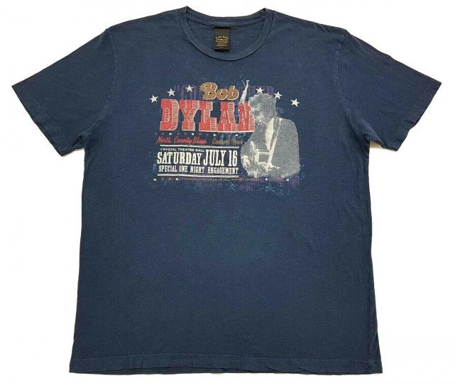 Bob Dylan Lucky Brand Rock Concert Tee Navy Blue Size L Mens T Shirt Distressed