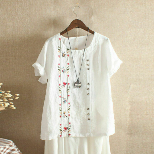 Bohemian Floral Embroidered Short Sleeve Tops Cotton Women T Shirt S-5XL Blouse