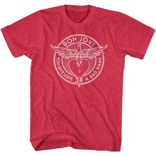Bon Jovi Bad Name Vintage Red Adult T-Shirt