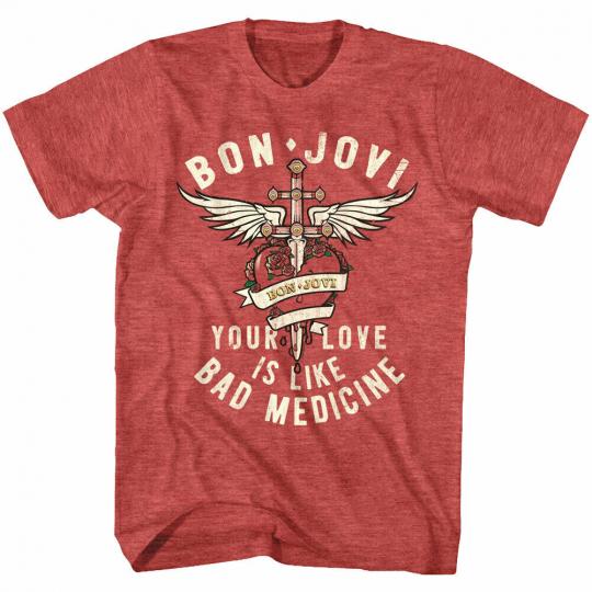 Bon Jovi Your Love Is Like Bad Medicine Men's T Shirt Rock Band Concert Album