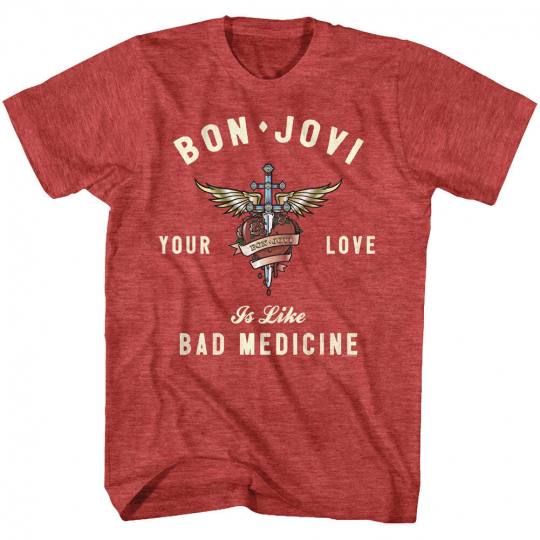 Bon Jovi Your Love Is Like Bad Medicine Mens T Shirt Rock Band Concert Album Top