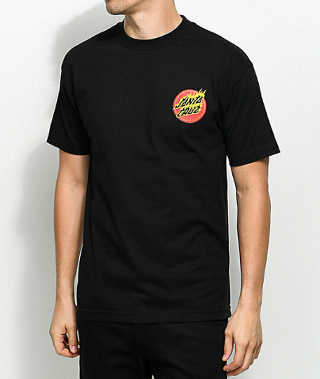 Brand New Mens Santa Cruz Flaming Dot Skateboard T-Shirt Black