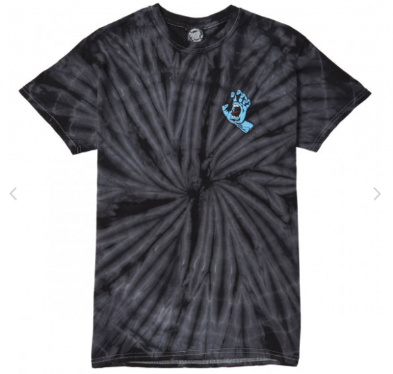 Brand New Mens Santa Cruz Screaming Hand Spider Tie Dye T-Shirt Black Grey