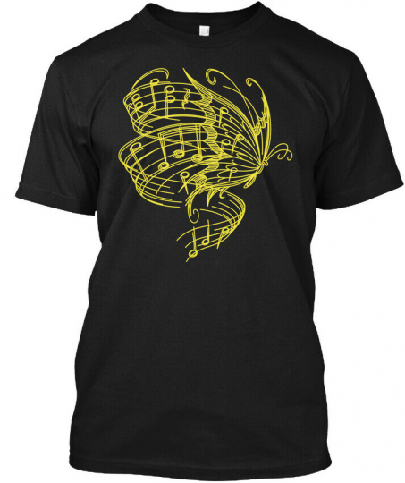 Butterfly And Music N Hanes Tagless Tee T-Shirt