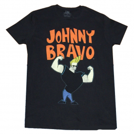 CARTOON NETWORK JOHNNY BRAVO T-SHIRT BLACK MENS RETRO TV SHOW TEE NEW