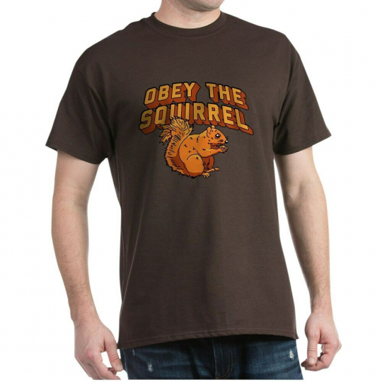 CafePress Obey The Squirrel Dark T Shirt 100% Cotton T-Shirt (213584524)