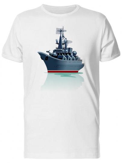 Cartoon Battleship On Sea Men's Tee -Image by Shutterstock
