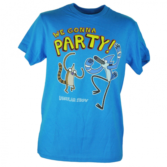 Cartoon Network Regular Show Comedy TV We Gonna Party Blue Tshirt Tee